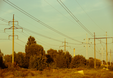 Electrical lines . power electric line and transmission tower
