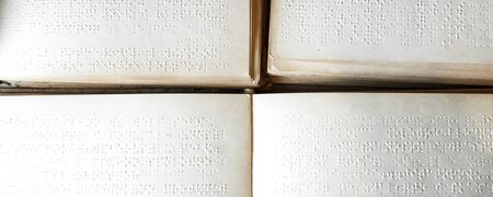 close up view braille text on old book