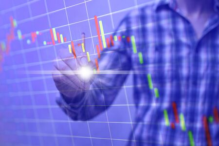 Stock Market Chart, graph. Businessman working with graph documents. Stockfoto