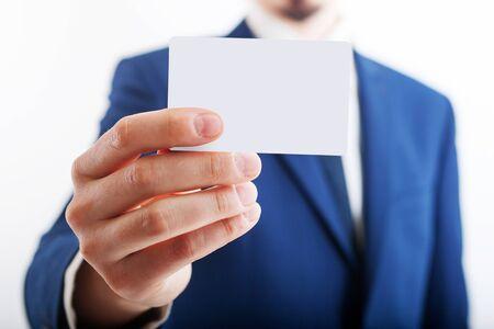 Closeup of torso of confident business man wearing elegant suit Foto de archivo