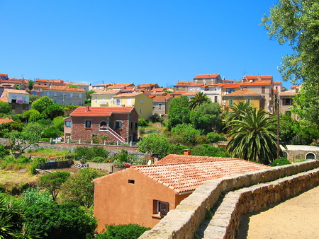 corse: Old Tiled Roofs of Carg�se, Corse Stock Photo