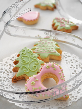 homemade christmas sugar cookies glazed with royal icing christmas tree biscuits selective focus