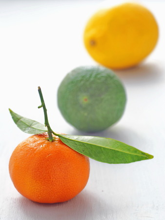 Three pieces of fruit in a row on a white background. Selective focus on the front. Stock Photo