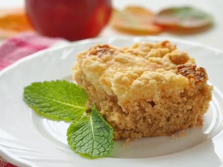 Stück Streuselkuchen. Selbst gemachter Keks, der mit Krumen verziert wird. Geringe Tiefenschärfe. Standard-Bild - 89791124
