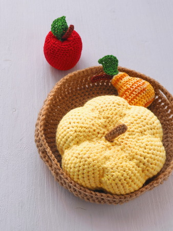 Small Crochet Basket With Fruits And Pumpkin Knitted Toys