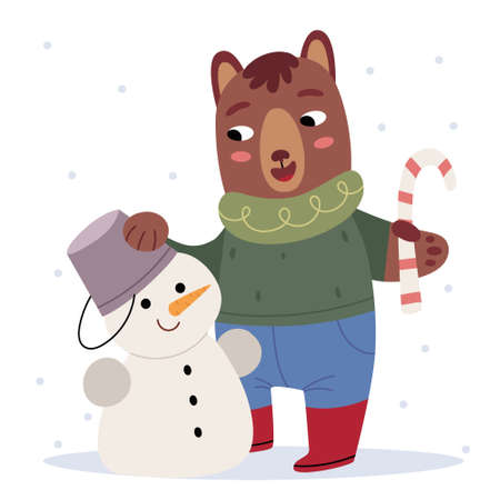 A teddy bear in winter clothes sculpts a snowman. Winter mood. Illustration for children's book. Cute Poster.