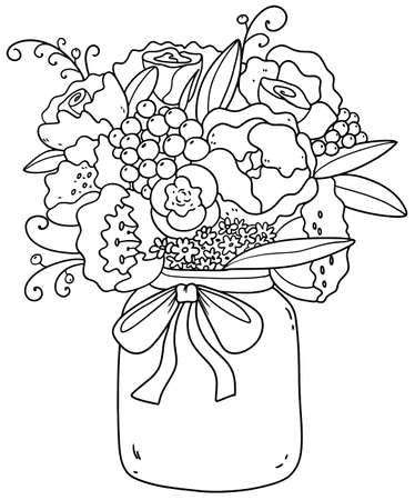 Beautiful bouquet with peonies, roses, daisies, lilacs. Romantic picture. Print Black-white bouquet. Coloring book for children and adults. Meditation and antistress.