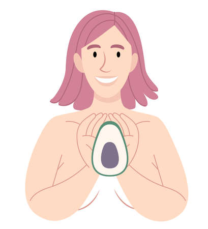 Naked girl is holding an avocado.A vegetarian and healthy lifestyle conception.Women Health. Poster in pastel colors. Category People