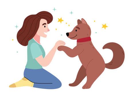 The girl loves her dog.Love between dog and owner. Illustration for children's book.Simple illustration. Cute Poster. Ilustración de vector