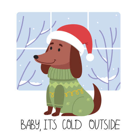 The dog in winter clothes is going to go for a winter walk.Baby it's cold outside.Funny dachshund in a winter hat. Illustration for children's book.Simple illustration. Cute Poster. 일러스트