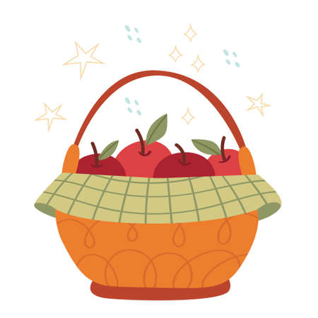 Autumn basket with big apples. Harvest concept.Organic food. Illustration for children's book.Simple illustration. Cute Poster.