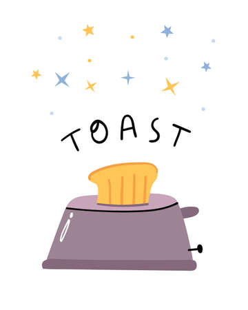Roasted toast bread popping up of toaster. Simple illustration with lettering.Minimalisn.