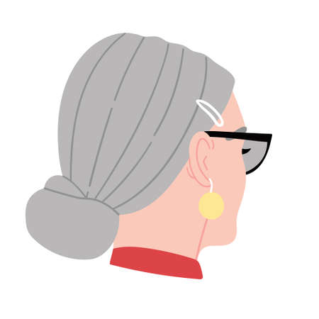 Fashion portrait of a girl with gray hair. Fashionable girl back view.Girl in sunglasses with a gold earring.Fashion for hairpins.