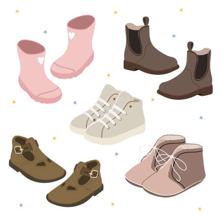 Children's Fashion. Pastel set with baby shoes. Pink rubber boots, sneakers, sneakers, Chelsea, sandals, boots.