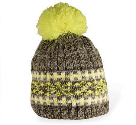 pompon: Knitted hat with a pompon isolated on white background