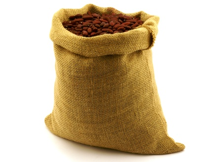 objec: red beans in burlap sack,isolated on white background