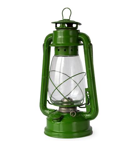 Green vintage kerosene lantern, isolated on white background