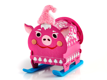 Symbol of the new year of cardboard piggy on a white background Stock Photo