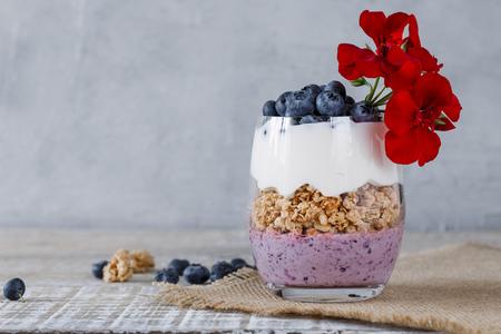 Granola with yogurt and blueberriesGranola with yogurt and blueberries in a glass beaker Imagens - 121889089