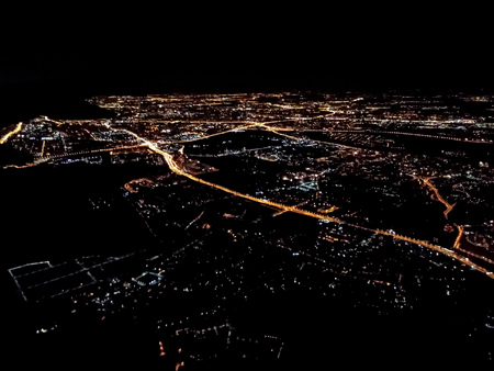 Lights of the night city, view from the plane, Moscow, Russia
