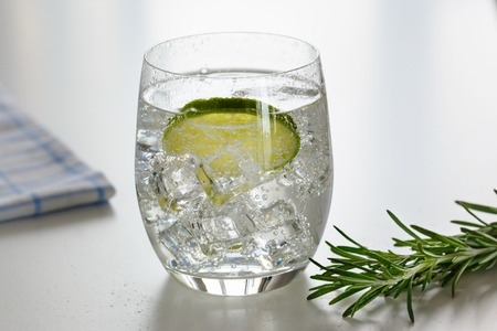 Water with lime in a glass with ice, a sprig of rosemary in backlight