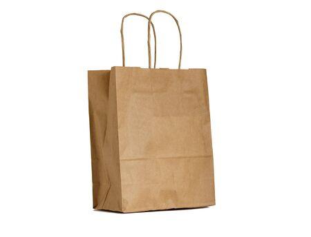 Empty brown paper eco bag, zero waste Stock fotó