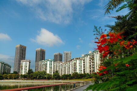View of the residential area from the municipal houses in a picturesque place, Shenzhen, China, Asia Imagens