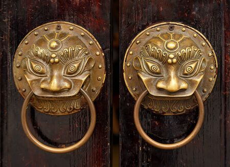 Fancy shaped copper door handles in the shape of a lions face on an old wooden door