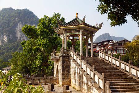 Chinese style stone staircase and pagoda, Yangshuo, China, Asia