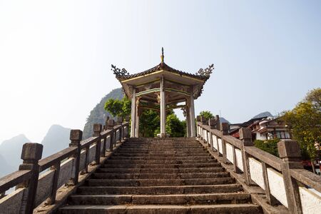 Chinese style stone staircase and pagoda, Yangshuo, China, Asia