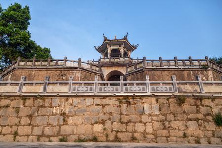 Stone wall and pagoda at the top, Yangshuo, China, Asia
