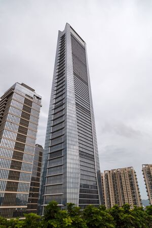 View of the municipal skyscrapers in cloudy weather, Shenzhen, China, Asia