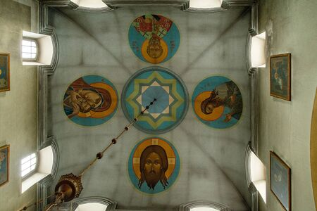 Painted on the ceiling of an Orthodox church of four saints and tower windows in a circle