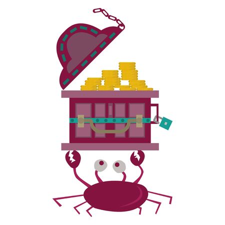 A treasure chest carried over the crabs head. with a simple cartoon illustration design. suitable as an interesting symbol.