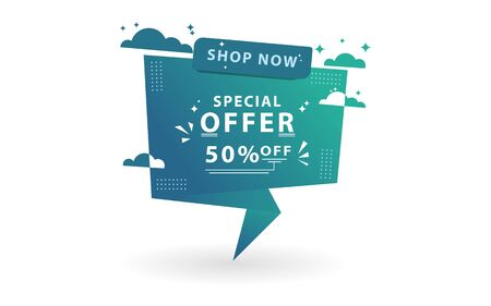 Sale banner special offer template design. With using the concept of altitude and clouds. Иллюстрация