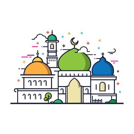 icon: Modern line art Islamic Mosque building. White background, Modern Mosque icon illustration. Illustration