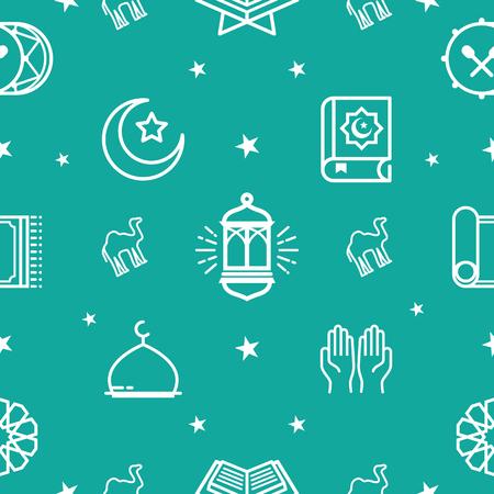 Ramadhan Pattern. Eid Mubarak Background, Ramadan Kareem Pattern, Line Icons Set. Vector Illustration Illustration