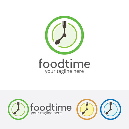 Lunch time, diet, eating, breakfast, vector logo template