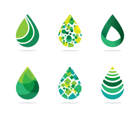 Set of abstract green water drops symbol, water drop logo, nature, technology, vector logo template Ilustracja