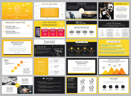 creative stock vector yellow and black elements for infographic, on a white background presentation template Illustration