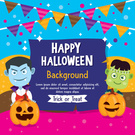 Happy Halloween background with Vampire and Frankenstein costume, Halloween greeting card with flag and pumpkin.