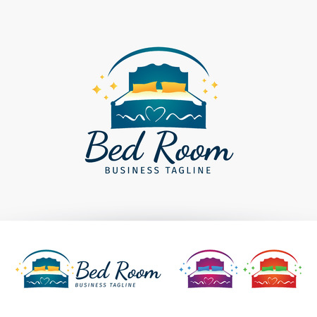 Bedroom furniture vector logo template
