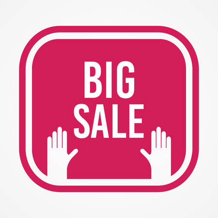 Big sale label and hand vector template Illustration