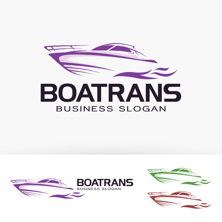 Boat transportation business slogan vector template Çizim