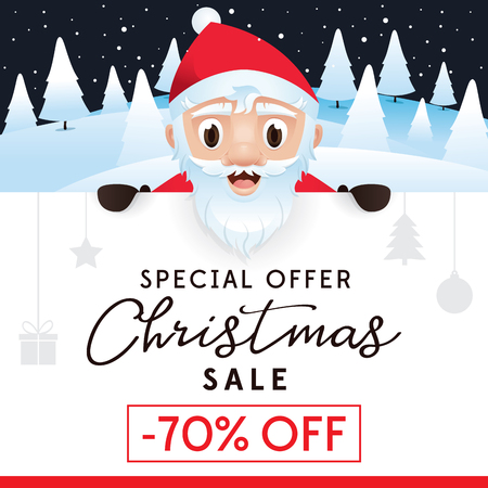 Christmas Sale leaflet, advertising poster for website and store, discount up to 70 percent. The Christmas sale vector illustration template
