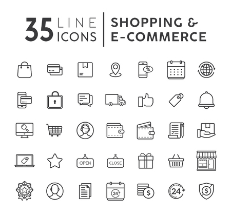 Vector set of E-commerce modern flat thin icons. Online shopping line icons set. E-commerce and shopping vector icons set. Outline web icons set. Vector illustration.
