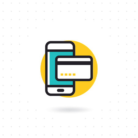 Mobile payment flat icon. Vector flat line illustration. The purchase of a mobile phone icon. Mobile phone with credit card icon. Colored flat line vector illustration