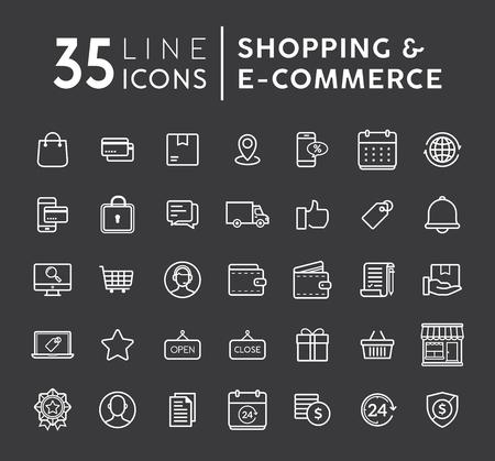 Sistema del vector de iconos finos planos modernos en línea de las compras. Conjunto de iconos de línea de comercio electrónico. Los iconos del vector del comercio electrónico y de las compras fijaron en fondo negro. Los iconos del web del esquema fijaron el ejemplo del vector Ilustración de vector