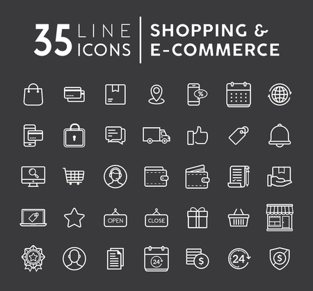 Vector set of Online shopping modern flat thin icons. E-commerce line icons set. E-commerce and shopping vector icons set on black background. Outline web icons set vector illustration.