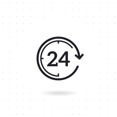 Flat line design open 24 hours icon.